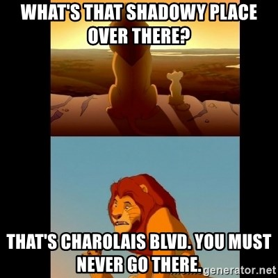 Lion King Shadowy Place - What's that shadowy place over there?  That's Charolais blvd. You must never go there.