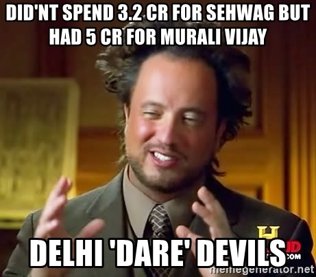 Ancient Aliens - Did'nt spend 3.2 cr for sehwag but had 5 cr for murali vijay Delhi 'dare' devils