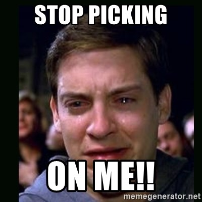 crying peter parker - STOP PICKING ON ME!!