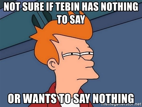 Futurama Fry - Not sure if Tebin has nothing to say or wants to say nothing