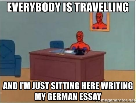 Spiderman Desk - everybody is travelling and I'm just sitting here writing my german essay