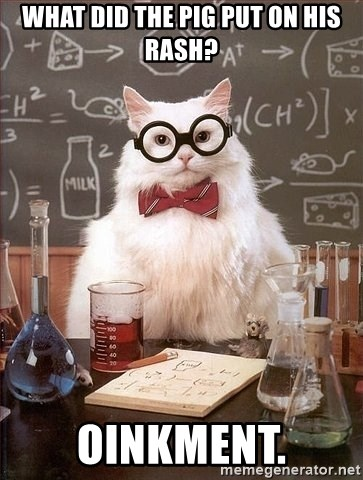Chemistry Cat - WHAT DID THE PIG PUT ON HIS RASH? OINKMENT.