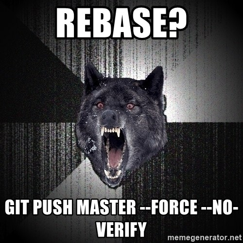 Insanity Wolf - Rebase? git push master --force --no-verify