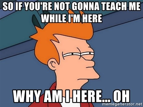 Futurama Fry - So if you're not gonna teach me while i'm here  Why am i here... oh