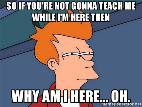 Futurama Fry - so if you're not gonna teach me while I'm here then why am i here... oh.