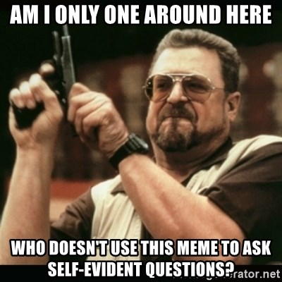 am i the only one around here - am i only one around here who doesn't use this meme to ask self-evident questions?