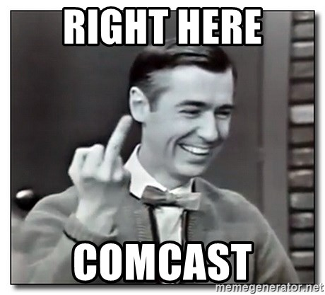 Mr Rogers gives the finger - RIGHT HERE COMCAST