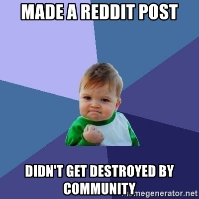 Success Kid - Made a reddit post Didn't get destroyed by community