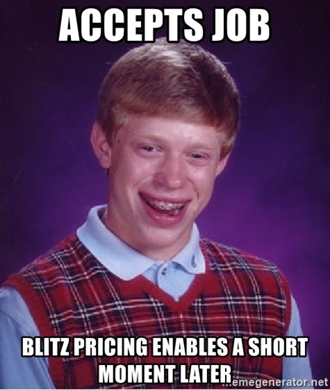 Bad Luck Brian - Accepts job Blitz pricing enables a short moment later