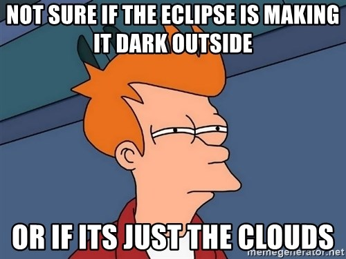 Futurama Fry - Not sure if the eclipse is making it dark outside or if its just the clouds