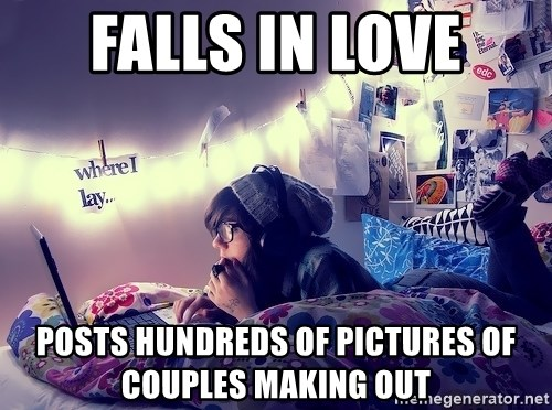 Tumblr Girl - falls in love posts hundreds of pictures of couples making out