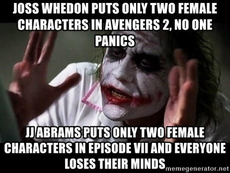 joker mind loss - Joss Whedon puts only two female characters in Avengers 2, no one panics JJ Abrams puts only two female characters in Episode VII and everyone loses their minds