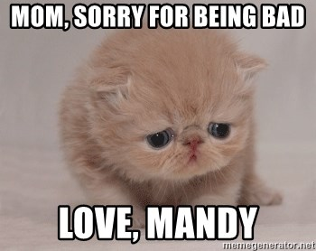Super Sad Cat - MOM, SORRY FOR BEING BAD LOVE, MANDY