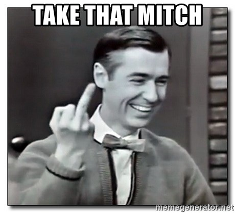 Mr Rogers gives the finger - Take that mitch