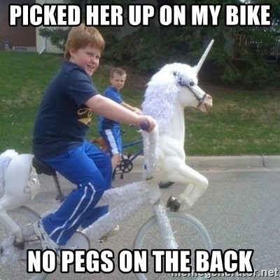 unicorn - Picked her up on my bike No pegs on the back