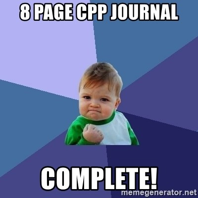 Success Kid - 8 page cpp journal complete!