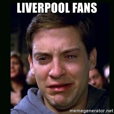 crying peter parker - liverpool fans