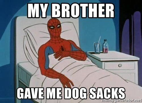 spiderman hospital - MY brother gave me dog sacks