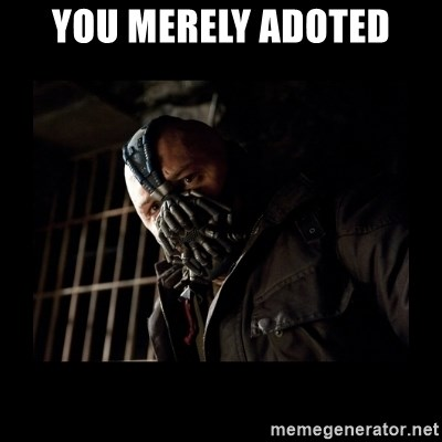 Bane Meme - YOU MERELY adoted