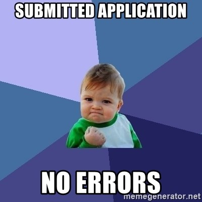 Success Kid - Submitted application no errors