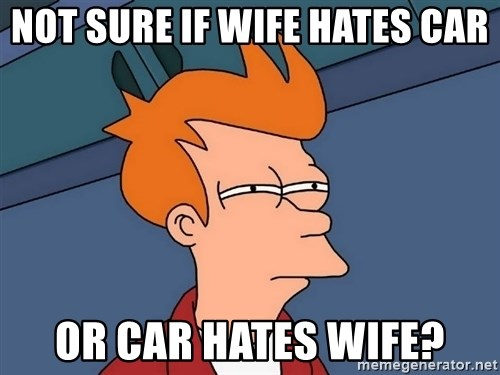 Futurama Fry - Not sure if wife hates car Or car hates wife?