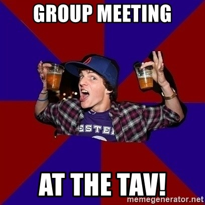 Sunny Student - group meeting at the tav!