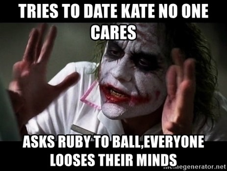 joker mind loss - Tries to date kate no one cares Asks ruby to ball,everyone looses their minds