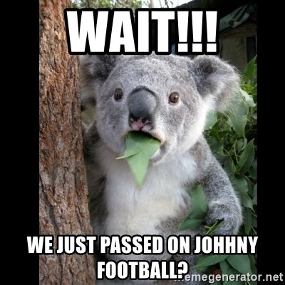 Koala can't believe it - Wait!!! we just passed on Johhny Football?