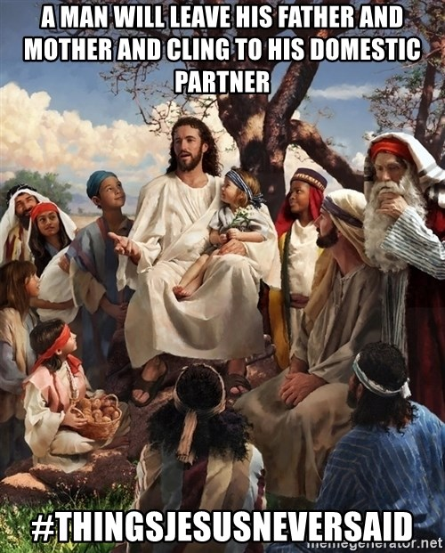 storytime jesus - a man will leave his father and mother and cling to his domestic partner #thingsjesusneversaid