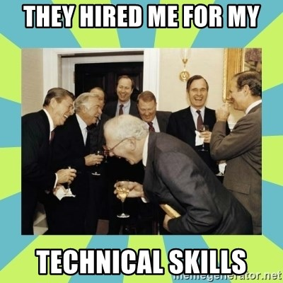 reagan white house laughing - They hired me for my Technical skills