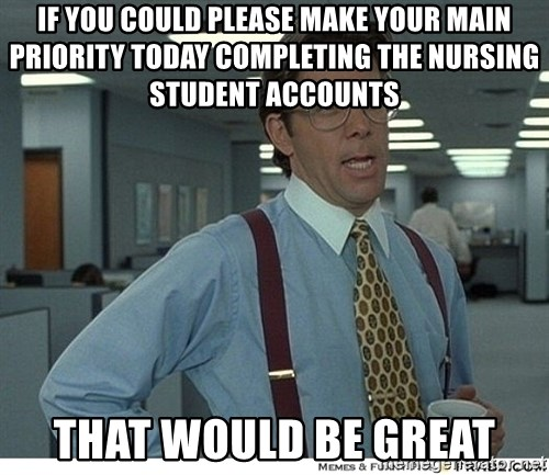 That would be great - IF YOU COULD please make your main priority today completing the nursing student accounts that would be great