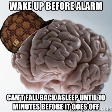 Scumbag Brain - Wake up before alarm Can't fall back asleep until 10 minutes before it goes off