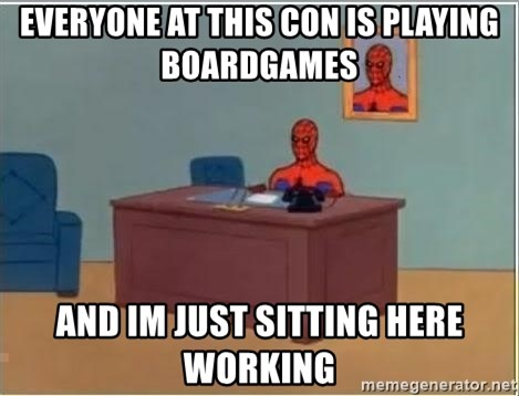 Spiderman Desk - Everyone at this con is playing boardgames And im just sitting here working