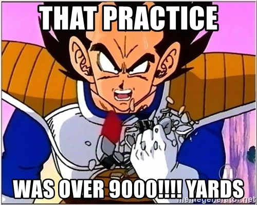 Over 9000 - That practice  Was over 9000!!!! Yards
