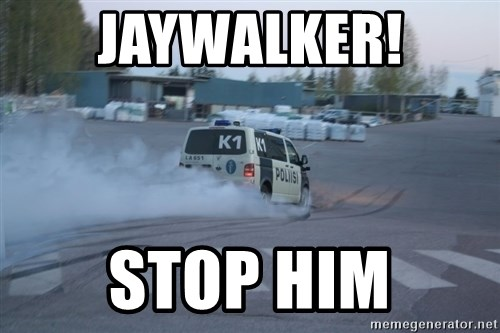 Finnish Police - jaywalker! stop him