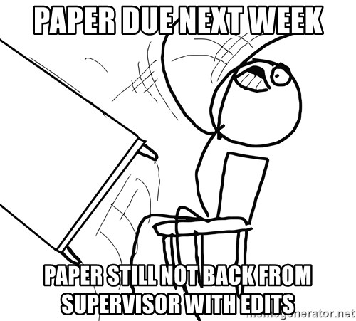 Desk Flip Rage Guy - paper due next week paper still not back from supervisor with edits