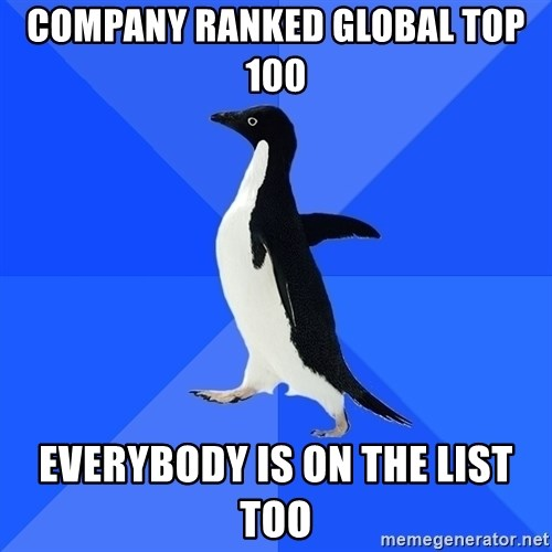 Socially Awkward Penguin - Company ranked Global Top 100 Everybody is on the list too