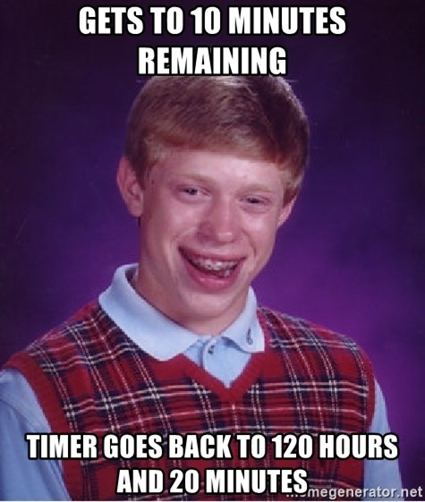Bad Luck Brian - Gets to 10 minutes remaining timer goes back to 120 hours and 20 minutes