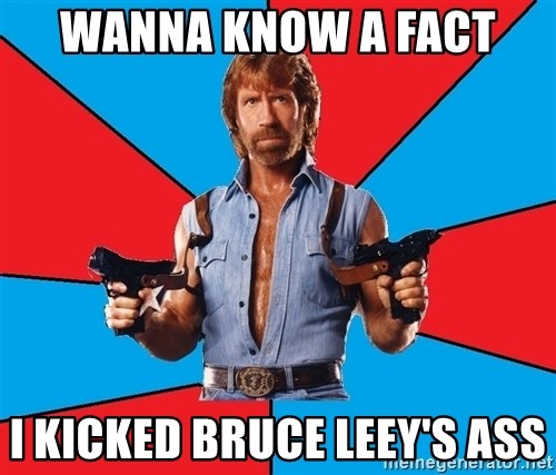 Chuck Norris  - wanna know a fact  I kicked Bruce leey's ASS