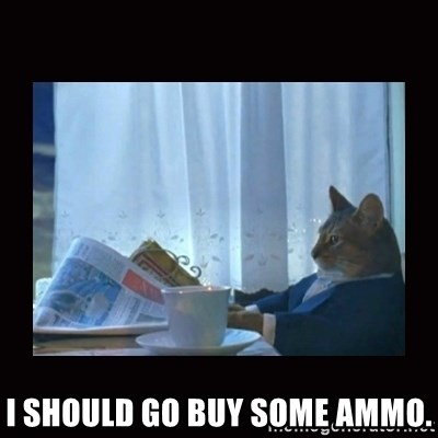 i should buy a boat cat -  I should go buy some ammo.