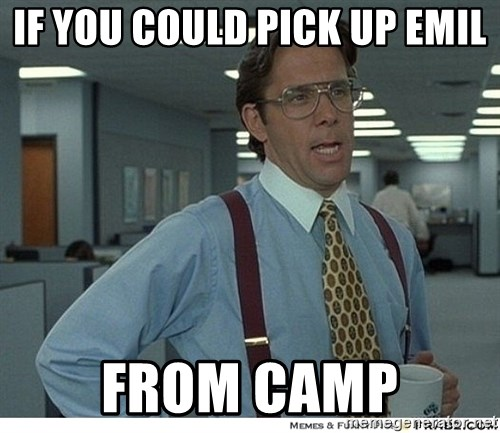 That would be great - if you could pick up emil from camp