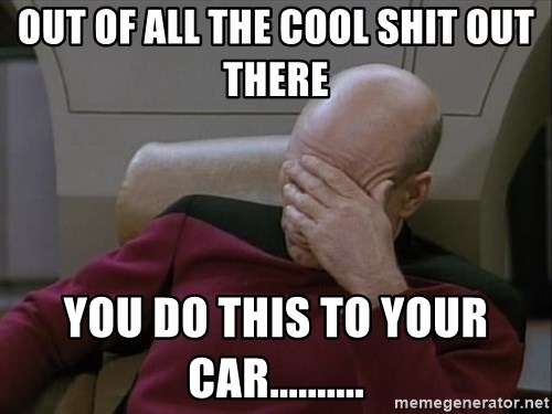 Picardfacepalm - out of all the cool shit out there You do this to your car..........