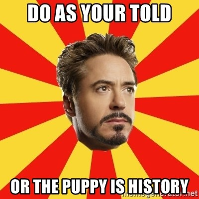 Leave it to Iron Man - Do as your told Or the puppy is history