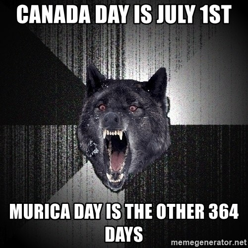 Insanity Wolf - Canada Day is July 1st MURICA DAY IS THE OTHER 364 days