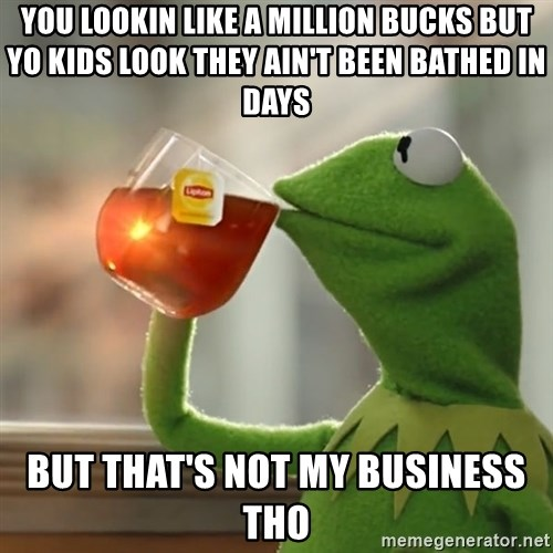 Kermit The Frog Drinking Tea - You lookin like a million bucks but yo kids look they ain't been bathed in days But that's not my business tho