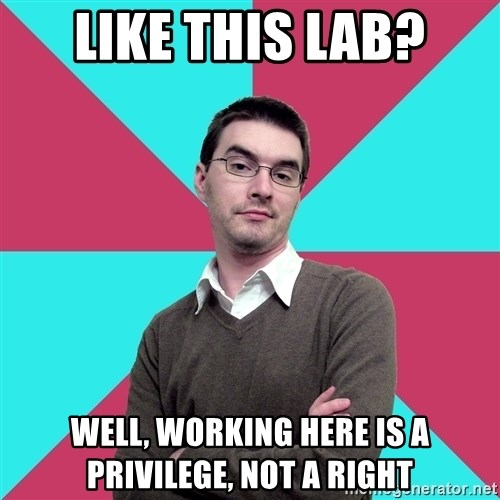 Privilege Denying Dude - like this lab? well, working here is a privilege, not a right