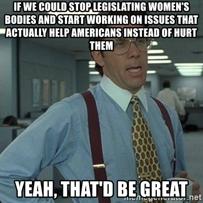 Yeah that'd be great... - if we could stop legislating women's bodies and start working on issues that actually help americans instead of hurt them yeah, that'd be great