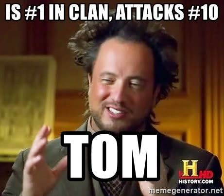 Ancient Aliens - is #1 in clan, attacks #10 Tom