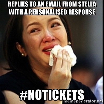 Kris Aquino - replies to an email from stella with a personalised response #notickets