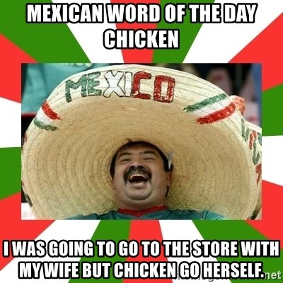 Sombrero Mexican - mexican word of the day  chicken I was going to go to the store with my wife but chicken go herself.